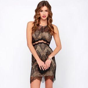 Lulus radiant black & tan sexy mesh mini dress S